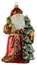 Santa Forest Pine cone Bird House Polish Glass Father Christmas Ornament 020038R