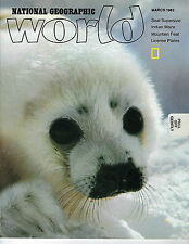 MARCH 1982 NATIONAL GEOGRAPHIC WORLD FEATURES SEAL SUPERSIZE ON THE COVER