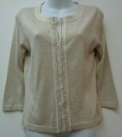 White House Black Market Medium Gold Cardigan Metallic Beaded 3/4 Sleeve Womens