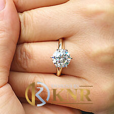 14K YELLOW GOLD ROUND FOREVER ONE MOISSANITE ENGAGEMENT RING SOLITAIRE 3.00