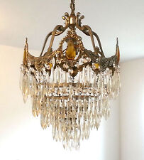 Antique Art Deco Nouveau Wedding Cake Crystal/Glass Cieling Chandelier 3 Light