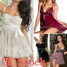 UK Sexy/Sissy Women Lingerie Nightwear Babydoll G-String Lace Thong Underwear