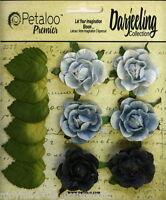 BLUE Flowers 6 Paper GARDEN ROSETTE 35mm & 6 Leaves 25x30mm Darjeeling Petaloo