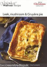Carte Recette: poireau, champignon & Gruyère tarte (waitrose)