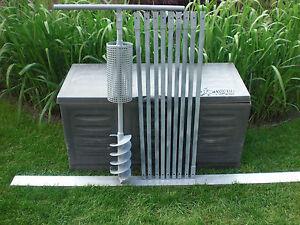 Brunnenbohrer-Erdbohrer mit Korb (Korbbohrer) mit Gestänge Halter 150 mm DM 10m