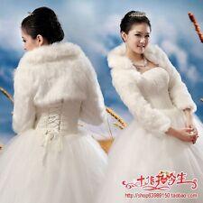 New Ivory Faux Fur Wrap Shrug Bolero Coat Bridal wedding Shawl Accessories