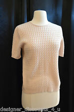 MARK SHALE Silk Cashmere Pullover Cable knit Sweater beige Womans Top SIZE SZ S