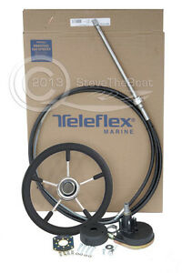 Boat Steering System 13ft >55hp Premium Teleflex/Seastar Helm Cable and SS Wheel