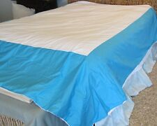 THE COMPANY STORE Full DUVET Comforter COVER Colorblock COTTON Bright Turquoise