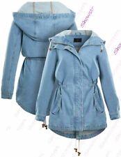 Veste en jean femme jean Parka Bleu Taille 8-24 Plus Taille Coupe Boyfriend acide Wash