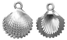 ONE LARGE STERLING SILVER 925 CLAM SHELL CHARM / PENDANT + CLOSED RING, 14 MM