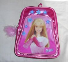 Vintage Girls Barbie Pink Mini Backpack Purse Feather Accent Sz S Rare