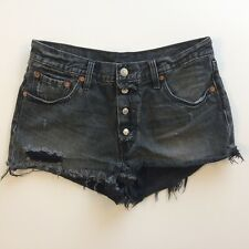 Levis 501 Womens Denim Cut Off Shorts Black Size 29 Button Fly Frayed Hem