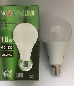 2 X HIGH WATTAGE BULBS / LAMPS BC B22 180W = 18W LED GLS 8000K  A+ 1530 LUMENS
