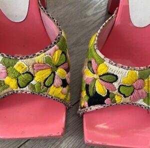 Fendi Vintage Wooden Clog Sandal In Pink Size 7.5