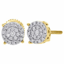 10K Yellow Gold Diamond Round Studs 4 Prong 6.35mm Cluster Earrings 0.25 Ct.