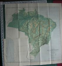 1886 datato antico MAP ~ BRASILE fisica Foresta Grass & Scrub FERROVIE