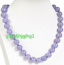 Long 18'' Natural10mm Purple Jade Round Gemstone Beads Necklace AAA