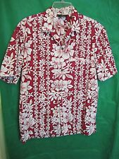 Shirt, Mens Tropical L ROYAL CREATIONS Hawaii Red Traditional & Hibiscus COTTON