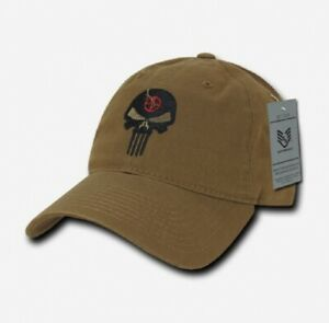 US RapDom Punisher Craft White Skull Relaxed Graphic Cap Mütze Coyote
