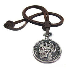 Fashion Charm Vintage Men's Silver Skull pendant Genuine Alloy Leather Necklace