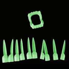 11PCS Halloween Horror Luminous Dental False Fake Costume Teeth Long Nails SU