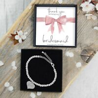 Silver Plated Beaded Bracelet Thank You Bridesmaid Gift Jewellery Heart Charm