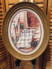 Vintage Home Interiors Homco Oval Wood Framed Country Porch Picture