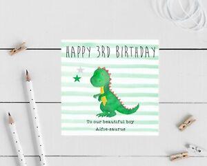 Personalised Boys Birthday Card Dinosaur Son Grandson friend 1st 2nd 3rd 5th
