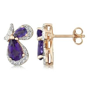 2.05Ct Pear Cut Amethyst & White Zircon 18K Rose Gold Over Silver Stud Earrings