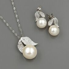 Freshwater Pearl Sterling Silver CZ Pendant Necklace Earrings Jewelry Set 00353