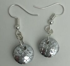 Mermaid Egg / Dragon Egg Scales Silver Plt Charm Earrings Silver I030