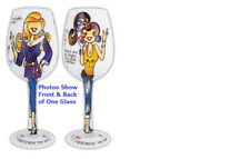 Bottom's Up 15-Ounce Sisterly Love Handpainted Wine Glass