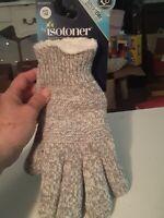 Isotoner Women's SmartDri Textured Knit Glove Sherpasoft Spill Heather Gray OS