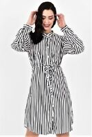 Womens Ladies Striped Shirt-Dress with Tie white/Black Satin Sizes S M L XL NEW