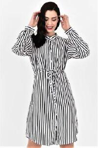 Womens Satin Striped Shirt-Dress with Draw-String NEW C J Bank Size S M L XL NEW