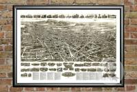 Old Map of Meriden, CT from 1918 - Vintage Connecticut Art, Historic Decor