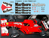 1/43  FERRARI F1 F2001 2001 MICHAEL SCHUMACHER SPONSOR DECALS TB DECAL TBD121