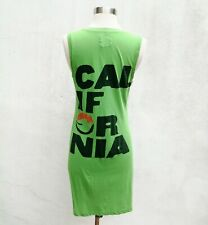 291 VENICE CALIFORNIA V-Neck Sleeveless Supima Cotton Spell-Out Dress Green 2/M