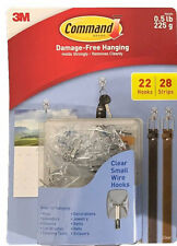 3M Command Damage-Free Hanging Clear Small Wire Hooks Package 22 Hooks/28 Strips