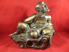 STUNNING ANTIQUE CHINESE GILT BRONZE FIGURE OF A MAN WITH EAR SCOOP c1880