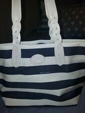 AUTHENTIC DOONEY & BOURKE NAVY BLUE WHITE STRIPE SHOPPER HANDBAG EXCELLENT...