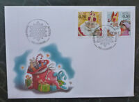 2016 LUXEMBOURG CHRISTMAS 'SANTA'  SET OF 2 STAMPS FDC FIRST DAY COVER