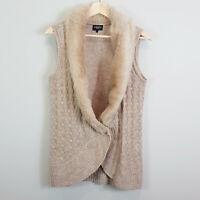 JEANSWEST | Womens Faux Fur Detail Knit Vest [ Size S or AU 10 or US 6 ]