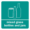 2 x Mixed Glass - Recycling Sign Self Adhesive Vinyl Waterproof Sticker