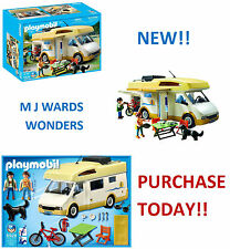 PLAYMOBIL Large Camper Van Motorhome 2 Figures Dog Bike 5928 63pcs