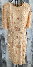 Vintage Kathryn Conover 100% Silk Sequin Beaded Pearl Dress Bling Blush Peach 10