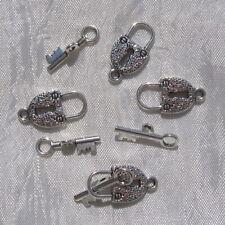 LOT DE 4 FERMOIRS TOGGLE CADENAS & CLEF ARGENTÉ bracelets créations bijoux *T4