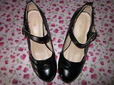 Womens Mid Heel one Tone Mary Jane Pumps black