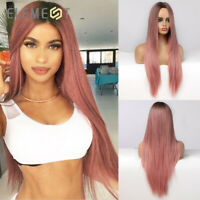 Element Long Straight Hair Wigs Ombre Pink Cosplay Wigs for Woman Middle Parting